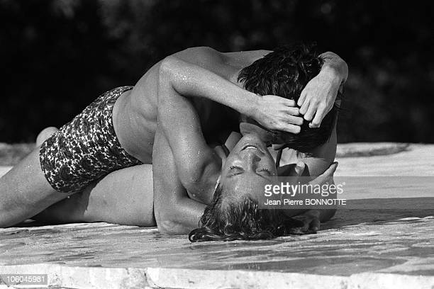 French actor Alain Delon and Austrian born actress Romy Schneider on the set of The Swimming Pool in August 1968 in SaintTropez France