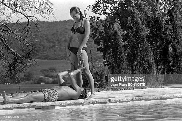 French actor Alain Delon and Austrian born actress Romy Schneider on the set of The Swimming Pool in 1968 in SaintTropez France