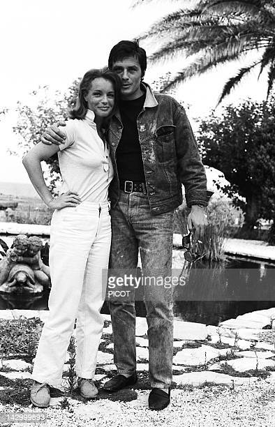 French actor Alain Delon and Austrian born actress Romy Schneider on the set of The Swimming Pool in SaintTropez France in 1968