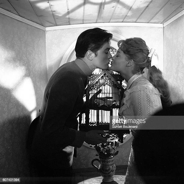 French actor Alain Delon and his partner Austrianborn German actress Romy Schneider on the set of Christine written and directed by French Pierre...