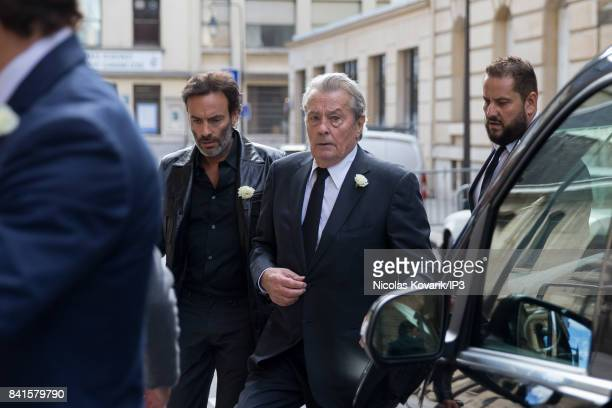 French Actor Alain Delon and his son Anthony Delon attend Mireille Darc's Funeral at Eglise Saint Sulpice on September 1 2017 in Paris France French...