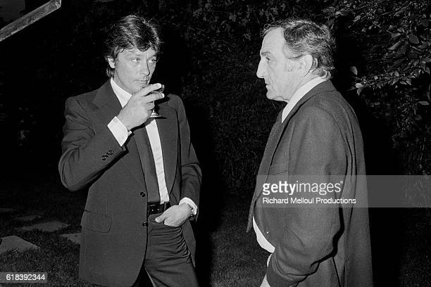 French actor Alain Delon and Italian actor Lino Ventura attend the 1978 Montreal World Film Festival Alain Delon is a member of the jury