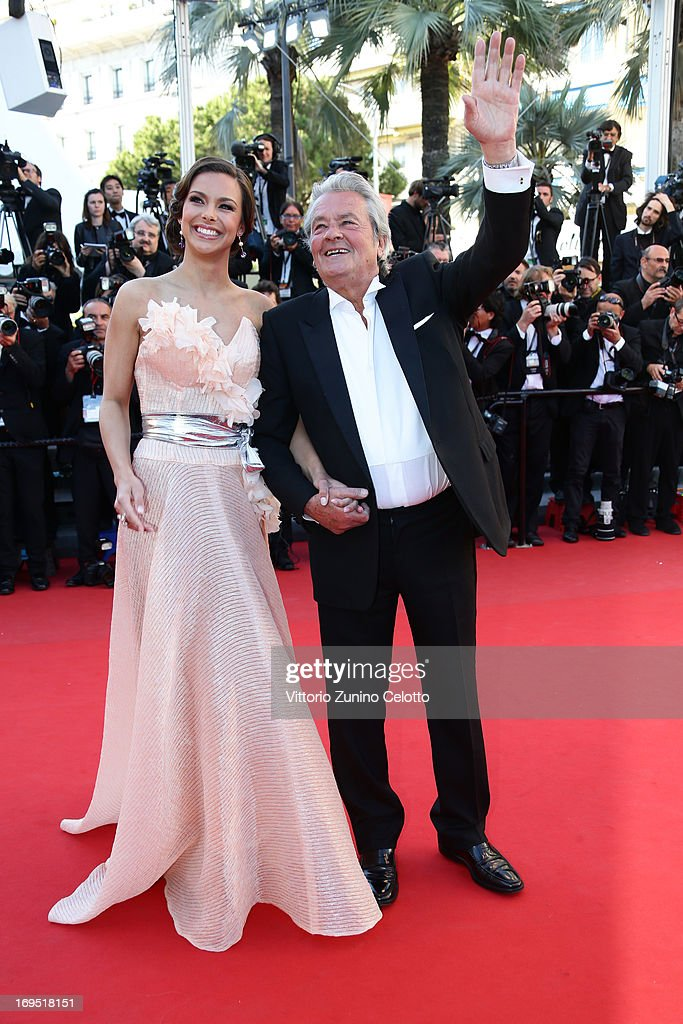 French actor <a gi-track='captionPersonalityLinkClicked' href=/galleries/search?phrase=Alain+Delon&family=editorial&specificpeople=228460 ng-click='$event.stopPropagation()'>Alain Delon</a> and Marine Lorphelin attends the 'Zulu' Premiere and Closing Ceremony during the 66th Annual Cannes Film Festival at the Palais des Festivals on May 26, 2013 in Cannes, France.
