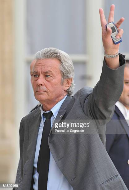 French actor Alain Delon attends a ceremony for recipients of France's most prestigious Legion D'Honneur award at the president's official residence...