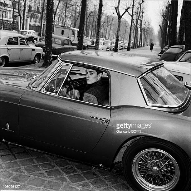 French Actor Alain Delon driving in 1965 in France
