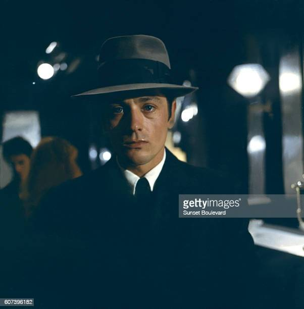 French actor Alain Delon on the set of Le Samourai written and directed by JeanPierre Melville