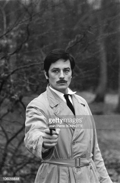 French actor Alain Delon on the set of the movie Le Cercle Rouge directed by JeanPierre Melville in February 1970 in France