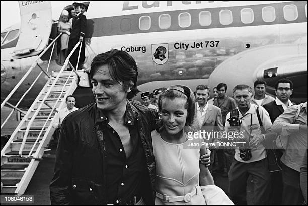 French actor Alain Delon welcomes Austrian born actress Romy Schneider at Nice airport in France in August 1968 before the filming of the the movie...