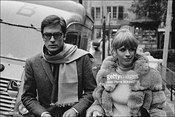 French actor Alain Delon with British actress Marianne Faithfull on the set of the movie The Girl on a Motocycle directed by Jack Cardiff in 1968 in...