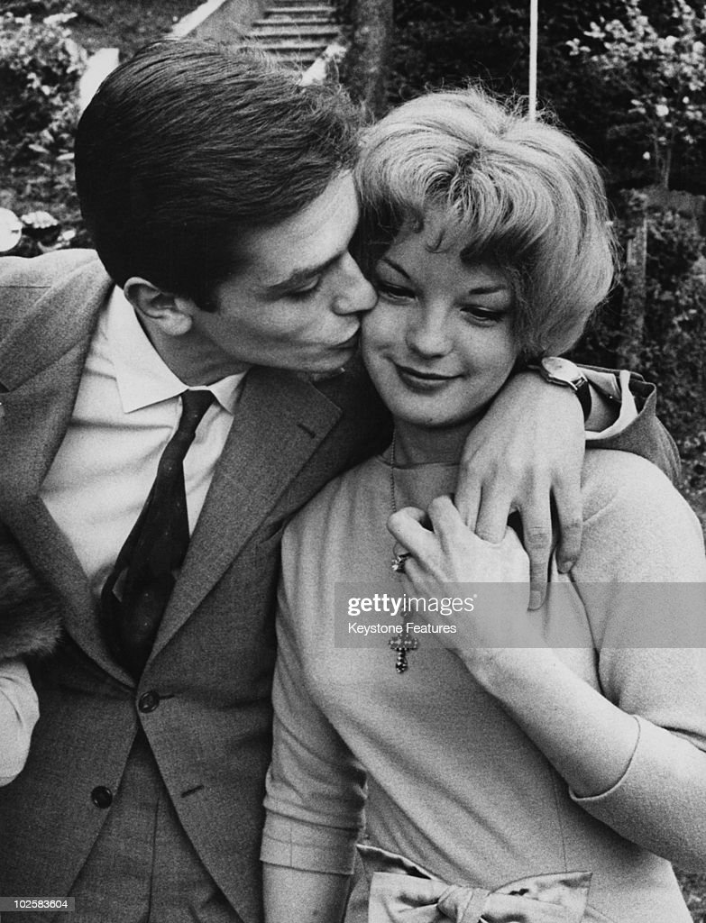 French actor <a gi-track='captionPersonalityLinkClicked' href=/galleries/search?phrase=Alain+Delon&family=editorial&specificpeople=228460 ng-click='$event.stopPropagation()'>Alain Delon</a> with his fiancee, German actress <a gi-track='captionPersonalityLinkClicked' href=/galleries/search?phrase=Romy+Schneider&family=editorial&specificpeople=672667 ng-click='$event.stopPropagation()'>Romy Schneider</a> (1938 - 1982) at Lake Lugano, Italy, 25th March 1959. The couple have just announced their engagement and are staying at a villa owned by Schneider's father.