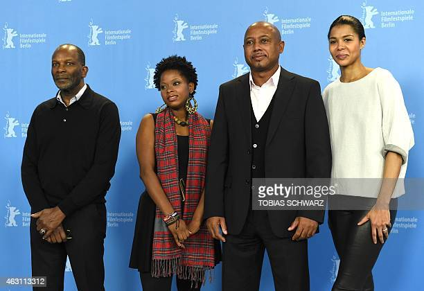 French actor Alex Descas Haitian actress Lovely Kermonde Fifi Haitian director Raoul Peck NigerianGerman actress Ayo attend a photocall of the film...