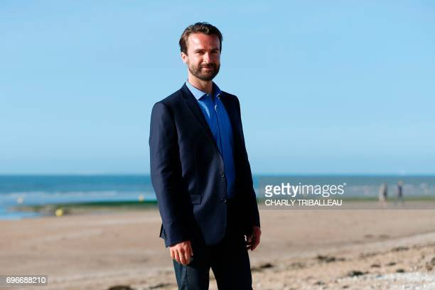 French actor Amaury de Crayencour poses during a photocall on June 16 2017 during the Cabourg Romantic Film Festival in Cabourg northwestern France /...