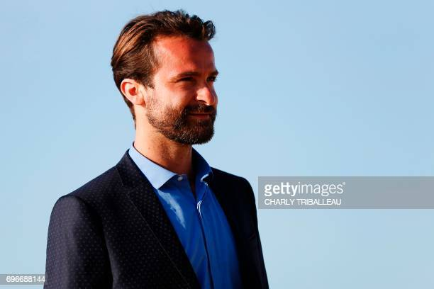 French actor Amaury de Crayencour poses on the red carpet on June 16 2017 during the Cabourg Romantic Film Festival in Cabourg northwestern France /...