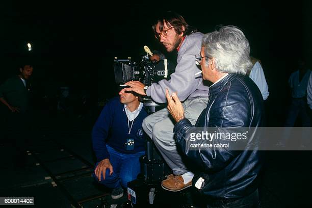 French actor and director Bernard Giraudeau behind the camera on the set of his television movie La Face de L'Ogre