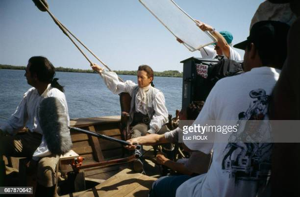 French actor and director Bernard Giraudeau on the set of his film Les Caprices d'un Fleuve