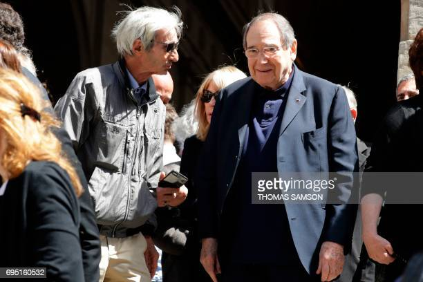 French actor and director Robert Hossein leaves the SaintRoch Church in Paris after attending the funeral of French actor JeanMarc Thibault on June...