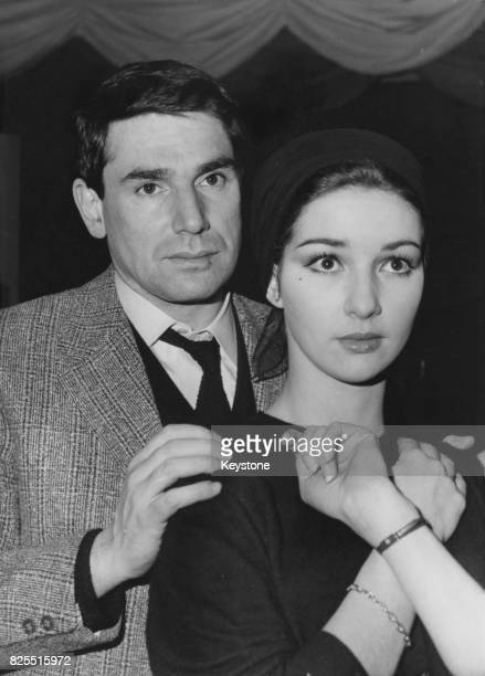 French actor and director Robert Hossein with actress Yori Bertin who is starring with him in the play 'Les Six Hommes En Question' at the Theatre...