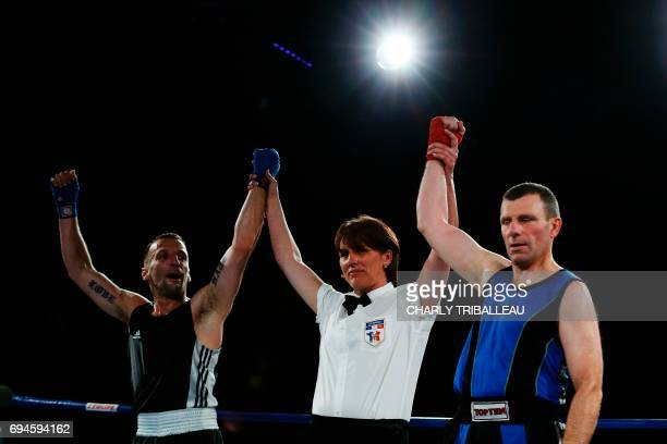 French actor and filmmaker Mathieu Kassovitz and Franck Barigault react after their fight at the 'Boxing For Legend' event on June 10 in Deauville...