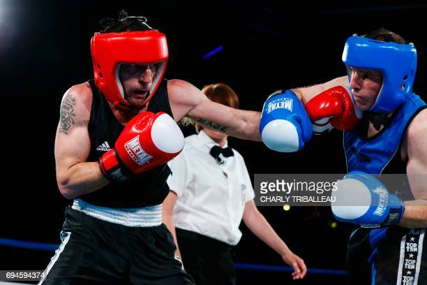 French actor and filmmaker Mathieu Kassovitz fights against Franck Barigault during the 'Boxing For Legend' event on June 10 in Deauville...