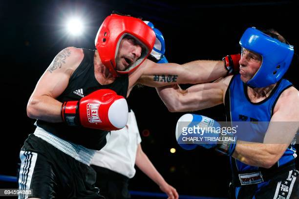 TOPSHOT French actor and filmmaker Mathieu Kassovitz fights against Franck Barigault during the 'Boxing For Legend' event on June 10 in Deauville...