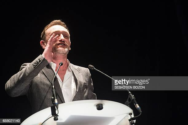 French actor and President of the jury JeanPaul Rouve gestures as he delivers a speech during the prize ceremony of the 24th Gerardmer fantastic film...