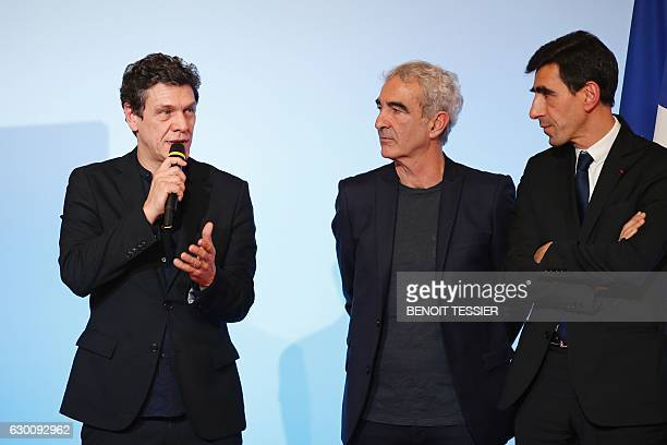 French actor and singer Marc Lavoine speaks about digital education as former French national soccer team coach Raymond Domenech and Abdel Aissou...