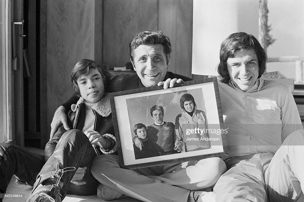 French actor and songwriter Gilbert Becaud and his sons Philippe and Gaya on wintersports in CranssurSierre
