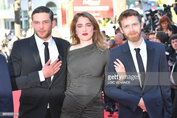 French actor Arnaud Valois French actress Adele Haenel and French actor Antoine Reinartz pose as they arrive on May 20 2017 for the screening of the...
