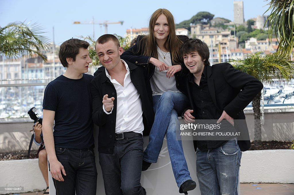 French actor Arthur Mazet, French actor Jules Pelissier, French actress Ana Girardot and French actor Laurent Delbecque pose during the photocall 'Simon Werner a Disparu' (Lights Out) presented in the Un Certain Regard selection at the 63rd Cannes Film Festival on May 20, 2010 in Cannes.