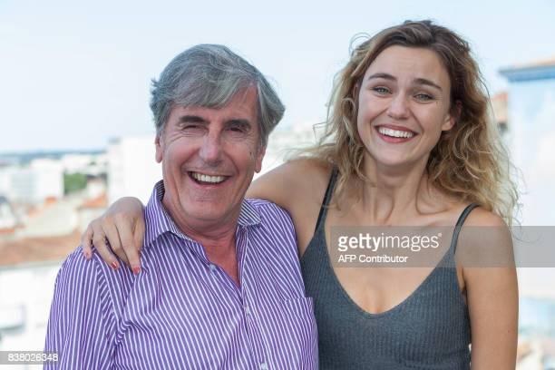 French actor Bernard Menez and French actress Margot Luciarte pose during a photocall of the 'Talents Adami Cannes 2017' during the 10th Angouleme...
