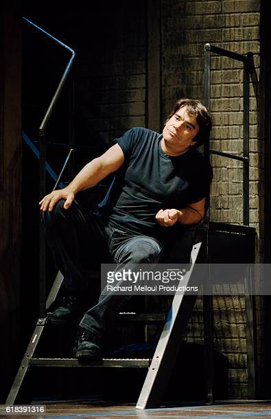French actor Bernard Tapie plays the lead part in Dale Wasserman's play One Few Over the Cuckoo's Nest in Paris directed by Thomas Le Douarec and...