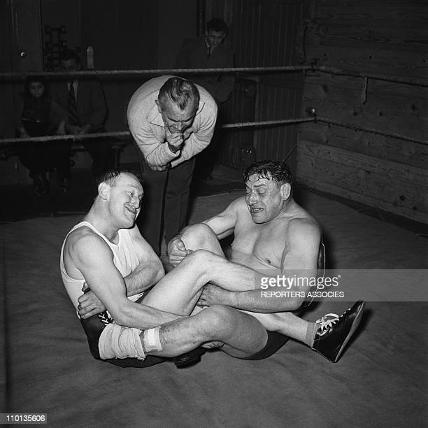 French actor Bourvil boxing in 1950