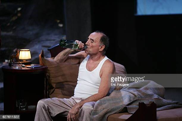 French actor Claude Brasseur performs during the spinning of Yves Ravey's play 'Dieu est un Steward de Bonne Composition' at the Rond Point theatre...