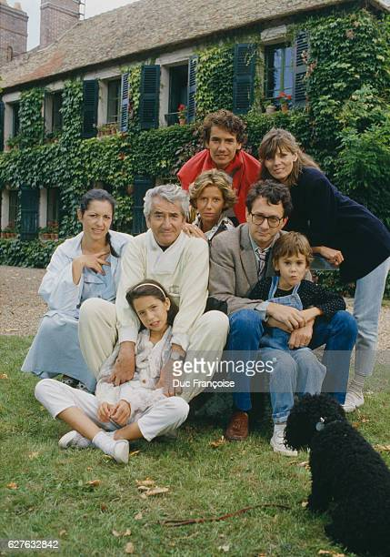 French actor Daniel Gélin surrounded by his family His sons Xavier and Manuel and his daughters Fiona and Laura