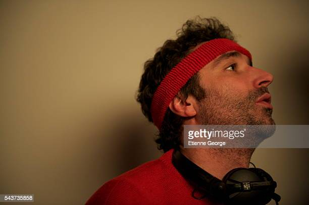 French actor director and screenwriter Clément Michel on the set of his movie La Stratégie de la Poussette