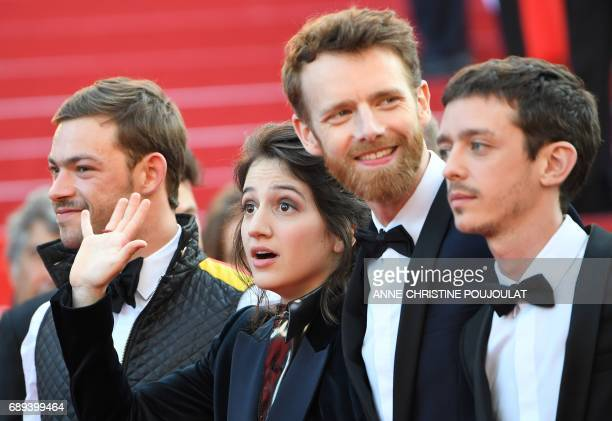 French actor Felix Maritaud French actress Aloise Sauvage French actor Antoine Reinartz and Argentinian actor Nahuel Perez Biscayart arrive on May 28...