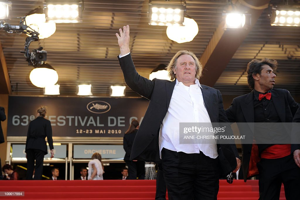 French actor Gerard Depardieu arrives for the screening of 'Fair Game' presented in competition at the 63rd Cannes Film Festival on May 20, 2010 in Cannes.