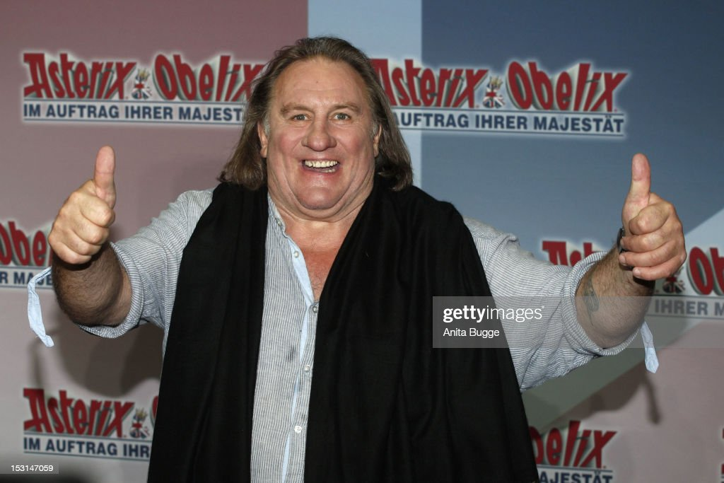 French actor <a gi-track='captionPersonalityLinkClicked' href=/galleries/search?phrase=Gerard+Depardieu&family=editorial&specificpeople=207073 ng-click='$event.stopPropagation()'>Gerard Depardieu</a> attends the 'Asterix & Obelix God Save Britannia' photocall at Hotel de Rome on October 1, 2012 in Berlin, Germany.