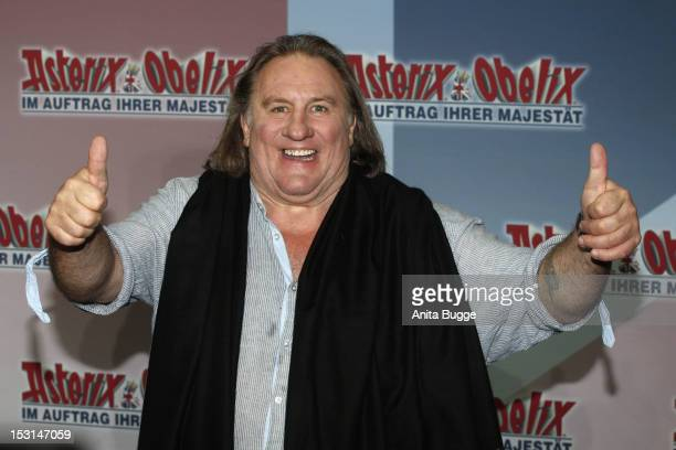 French actor Gerard Depardieu attends the 'Asterix Obelix God Save Britannia' photocall at Hotel de Rome on October 1 2012 in Berlin Germany