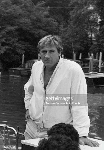 French actor Gerard Depardieu standing at the Movie festival photocall Lido Venice 1982