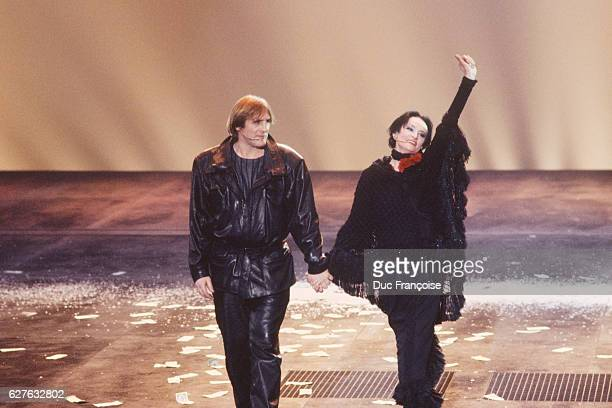 French actor Gerard Depardieu with singer Barbara after the show Lily Passion written by Barbara and performed at the Zenith