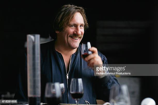 French actor Gerard Depardieu working in his vineyard | Location Tigne France