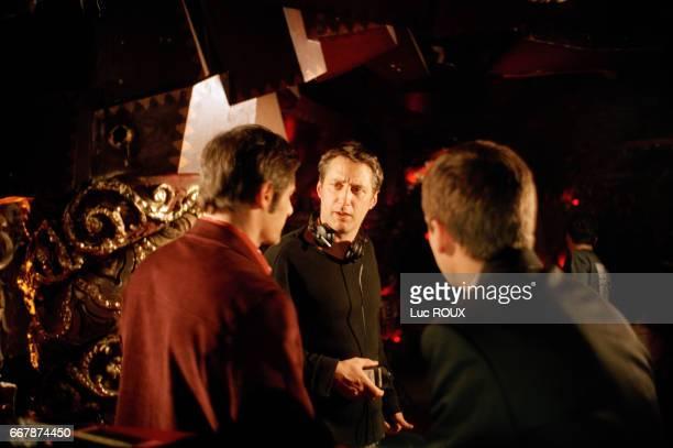 French actor Gerard Lanvin actor and director Antoine de Caunes and actor Guillaume Canet on the set of Caunes's film Les Morsures de l'Aube