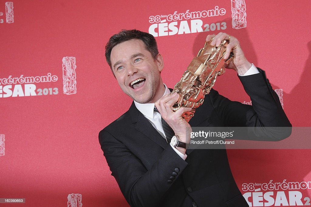 French actor Guillaume de Tonquedec poses with his trophy after receiving the Best Supporting Actor award during the Cesar Film Awards 2013 at Theatre du Chatelet on February 22, 2013 in Paris, France.