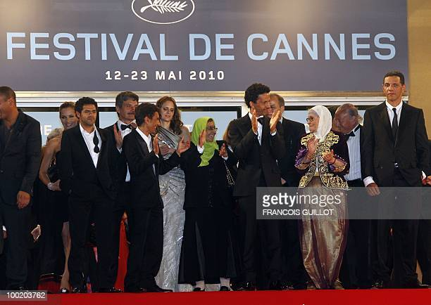 French actor Jamel Debbouze French director Rachid Bouchareb French actor Sami Bouajila actress Chafia Boudraa and French actor Roschdy Zem after the...