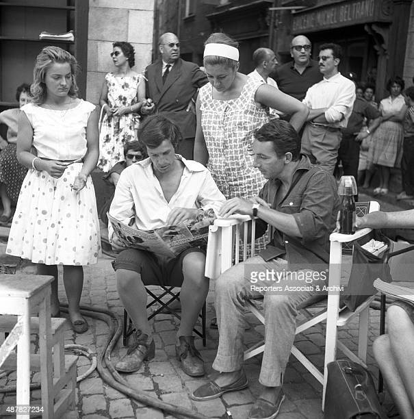 French actor Jean Paul Belmondo preparing a scene with French director Philippe De Broca on the set of Cartouche France 1962