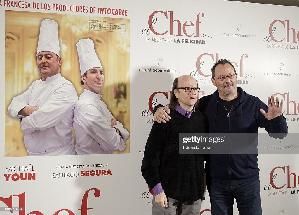 French actor Jean Reno (R) and Spanish actor Santiago Segura attend 'El Chef, la receta de la felicidad' ('Comme un chef') photocall at Intercontinental hotel on November 26, 2012 in Madrid, Spain.