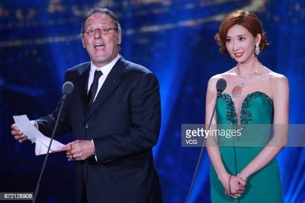 French actor Jean Reno model and actress Lin Chiling attend the closing ceremony of 2017 Beijing International Film Festival on April 23 2017 in...