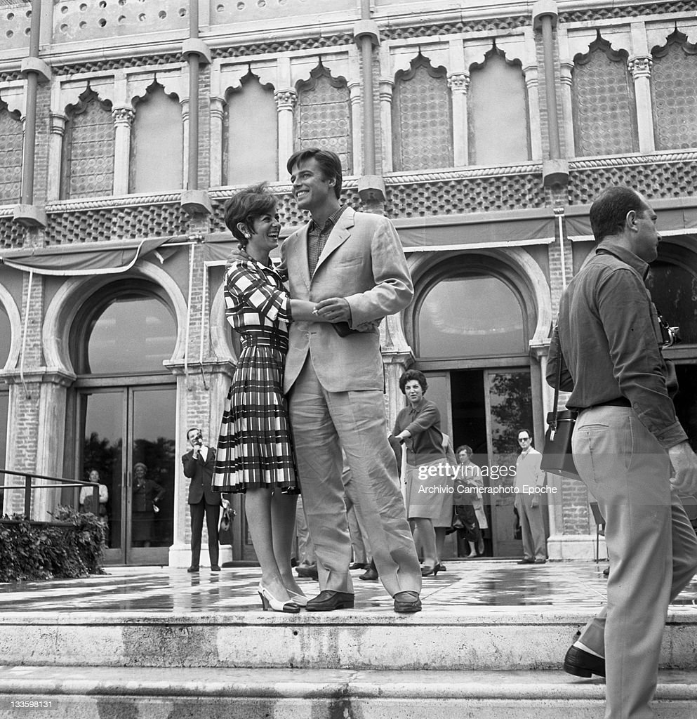 French actor Jean Sorel standing outside the Excelsior hotel Lido Venice 1967