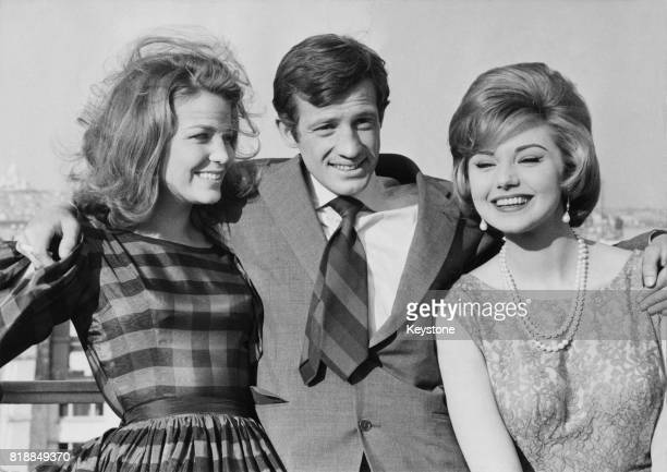French actor JeanPaul Belmondo with actresses Alexandra Stewart and Sylva Koscina his costars in the film 'Les Distractions' 31st January 1960
